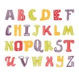 Alphabet mignon de dessin de main Fonte drôle Conception tirée par la main Photos libres de droits