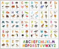 Alphabet mignon de zoo de vecteur Animaux d'ABC Photographie stock libre de droits