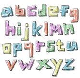 Alphabet minuscule tiré par la main peu précis coloré illustration stock
