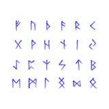 Alphabet mit alten Altnordischrunen (Futhark) stellte von 24 skandinavische und germanische Buchstaben ein Stockbilder