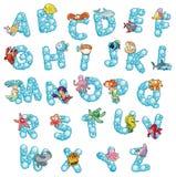 Alphabet mit Fischen und Luftblasen. Stockbilder