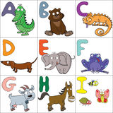 Alphabet mit Karikaturtieren 1 Stockfotografie