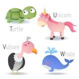 Alphabet mit Tieren von T zu W vektor abbildung