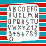 Alphabet mit zwei Tönen auf Streifenhintergrundvektor Lizenzfreie Stockbilder