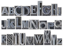 Alphabet in mixed metal type Stock Images