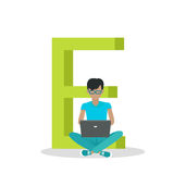 Alphabet Mobile People Vector Flat Design Concept. Alphabet mobile people illustration. Flat design. ABC vector with human using computer and mobile device. man Stock Images