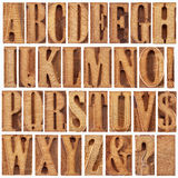 Letterpress wood type alphabet. Alphabet in modern letterpress wood type printing blocks (unused), a collage of 26 isolated letters, question mark, exclamation Royalty Free Stock Photography