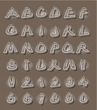 Alphabet in modern style with distorted letters with shading brown Stock Photography
