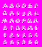 Alphabet in modern style with distorted letters with shading violet Stock Images