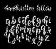 Alphabet moderne latin tiré par la main de brosse de calligraphie de craie des lettres minuscules Vecteur illustration de vecteur