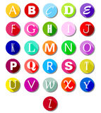 Alphabet on multicolor circles -flat Royalty Free Stock Photography