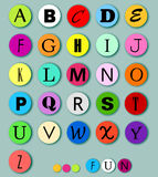 Alphabet on multicolor circles Royalty Free Stock Image