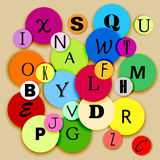 Alphabet on multicolor circles Royalty Free Stock Photo