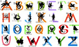Alphabet with mythical creatures Royalty Free Stock Photo