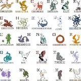 Alphabet with mythical creatures Royalty Free Stock Photos