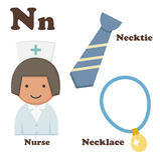 Alphabet N letter.Necklace,Necktie,Nurse Stock Photo