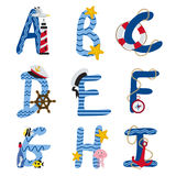 Alphabet nautical from A to I. Vector illustration, eps Stock Photography