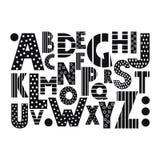 Alphabet noir et blanc de bande dessinée Image libre de droits