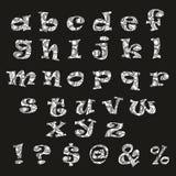 Alphabet noir et blanc tiré par la main Photo libre de droits