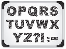 Alphabet noir sur Whiteboard Image stock