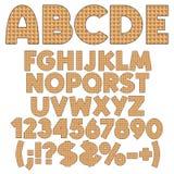 Alphabet, nombres et signes des gaufrettes illustration stock