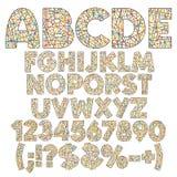 Alphabet, nombres, lettres et signes des rayures de couleur, rubans, fils Placez des objets d'isolement par vecteur de couleur illustration libre de droits