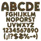 Alphabet, nombres, lettres et signes des rayures de couleur, rubans, fils Placez des objets d'isolement par vecteur de couleur illustration de vecteur