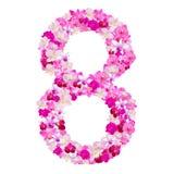 Alphabet Nr. acht von den Orchideenblumen lokalisiert auf Weiß Stockbild