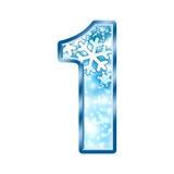 Alphabet numéro 1 un de l'hiver Image libre de droits