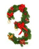 Alphabet numéro 3 de Noël Photographie stock libre de droits