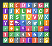 Alphabet and Number Flat Icon Set Royalty Free Stock Images