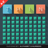 Alphabet and Number Flat Icons Set Royalty Free Stock Photography