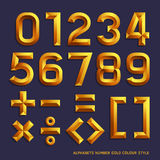Alphabet number gold colour style. Royalty Free Stock Photos