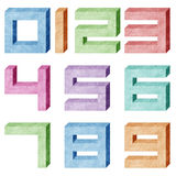 Alphabet number recycled paper craft Stock Photos
