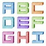 Alphabet number recycled paper craft Royalty Free Stock Image