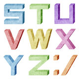 Alphabet number recycled paper craft Royalty Free Stock Photo