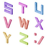 Alphabet number recycled paper craft Stock Images