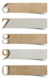Alphabet number recycled paper craft. Stick on white background ( 6 7 8 9 0 stock images