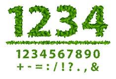 Alphabet number seasonal leaves spring stock illustration