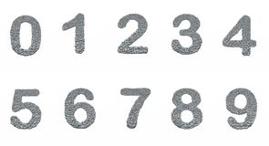 Alphabet, number 0-9 with stone texture Stock Photography
