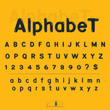 Alphabet and number on yellow backgrond. Vector illustration Stock Photography
