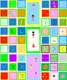 Alphabet, numbers and children Royalty Free Stock Photo