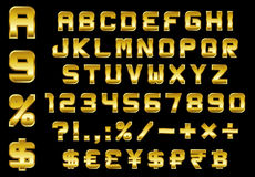 Alphabet, numbers, currency and symbols pack - rectangular bevel. Ed golden font, vector Stock Photography