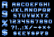 Alphabet, numbers, currency and symbols pack, rectangular bevele. Alphabet, numbers, currency and symbols pack - rectangular beveled blue metal font Royalty Free Stock Image