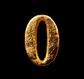 Alphabet and numbers in gold leaf Royalty Free Stock Photos