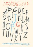 Alphabet and numbers hand drawn in  Royalty Free Stock Photo