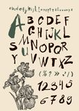 Alphabet and numbers hand drawn in  Royalty Free Stock Photos