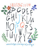 Alphabet and numbers hand drawn in  with watercolor flowers Royalty Free Stock Photo