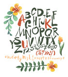 Alphabet and numbers hand drawn in  with watercolor flowers Royalty Free Stock Image