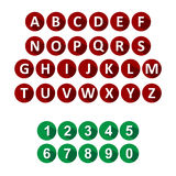 Alphabet and numbers icons Stock Photography